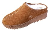 Women's Sheepskin Moccasins - CLOG Slipper-Shoe - sierra indoor/outdoor sole, golden tan and ivory sheepskin; sizes: 5-11 (full sizes only)